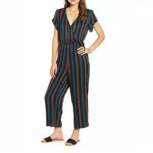 Madewell stripe short sleeve wrap jumpsuit